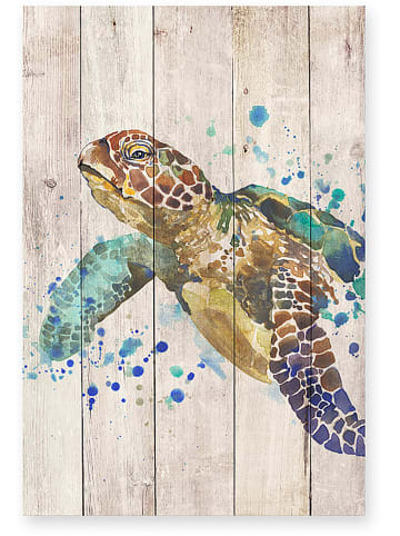 "Madre Selva Kids Kunstdruk op hout ""Turtle"" - (B)40 x (H)60 cm"