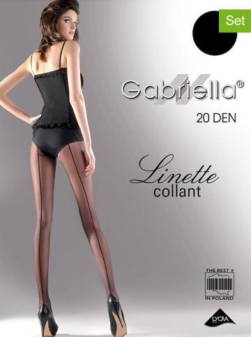 """Gabriella 2er-Set: Strumpfhosen """"Linette"""" in Schwarz - 20 DEN"""