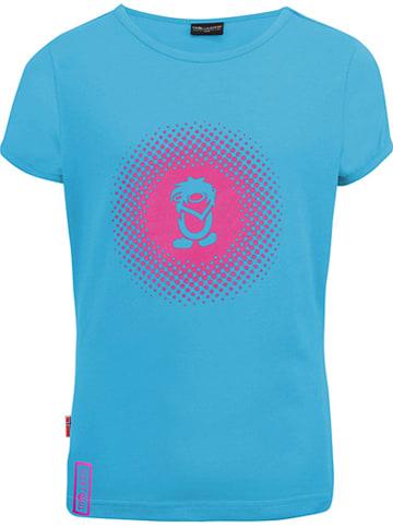 """Trollkids Koszulka funkcyjna """"Logo"""" w kolorze błękitno-różowym"""