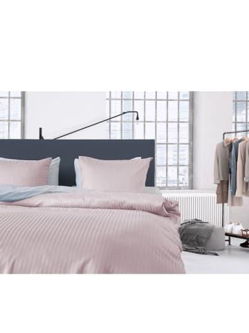 """Heckett Lane Satin-Bettwäsche-Set """"Uni Stripe"""" in Rosé"""