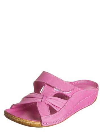 Andrea Conti Leren slippers roze