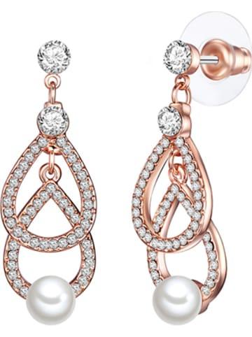 Perldesse Rosévergulde oorstekers met parels