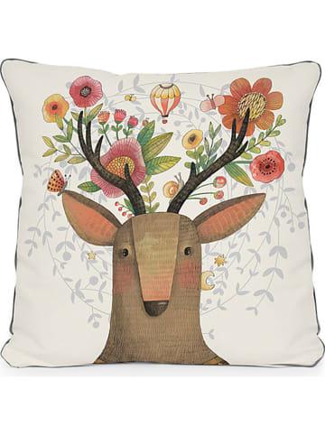 "Little nice things Poduszka ""Deer Dream"" w kolorze beżowym ze wzorem - 45 x 45 cm"