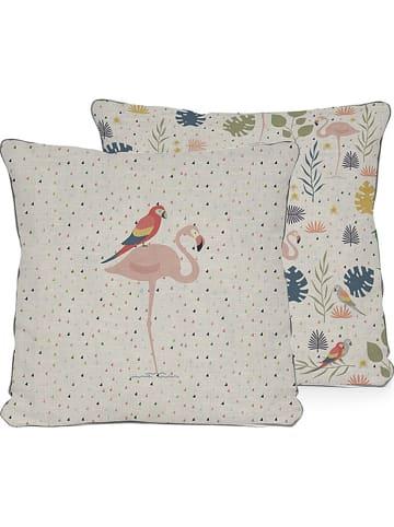 """Little nice things Poszewka """"Tropical"""" w kolorze beżowym ze wzorem na poduszkę - 45 x 45 cm"""