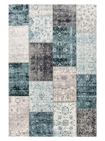 """Lifa Living Laagpolig tapijt """"Cool Patchwork"""" blauw/grijs"""