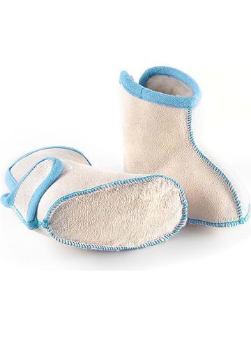 """Hofbrucker Babyschoenen met lamsvacht """"Booty"""" wit/blauw"""