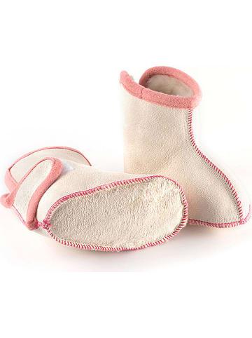 "Hofbrucker Babyschoenen met lamsvacht ""Booty"" wit/lichtroze"