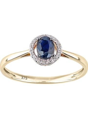 Revoni Złoty pierścionek z diamentami i szafirem