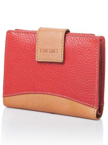 I MEDICI FIRENZE Skórzany portfel w kolorze czerwonym - 13 x 10,5 x 2,5 cm
