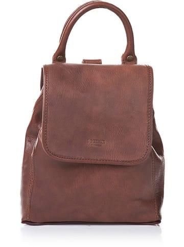 I MEDICI FIRENZE Skórzany plecak w kolorze ciemnobrązowym - 23,5 x 25 x 10,5 cm