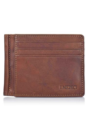 I MEDICI FIRENZE Skórzany portfel w kolorze brązowym - 11,3 x 9 x 0,8 cm