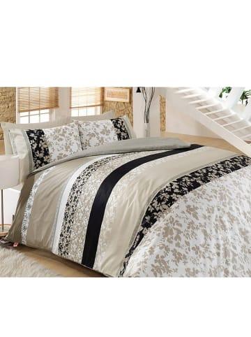 """Colourful Cotton Renforcé beddengoedset """"Deborah"""" beige/zwart"""