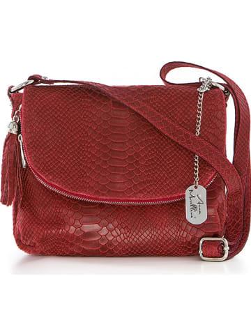 Anna Morellini Leren schoudertas rood - (B)28 x (H)20 x (D)8 cm