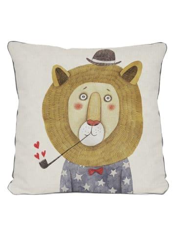 """Little nice things Poszewka """"Lion"""" w kolorze beżowym ze wzorem na poduszkę - 45 x 45 cm"""