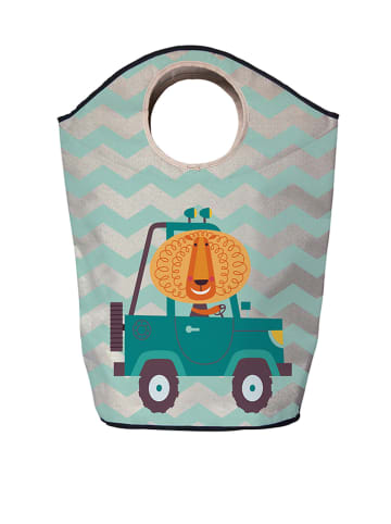 "Mr Little Fox Opbergtas ""Lion Car"" zilverkleurig/turquoise"