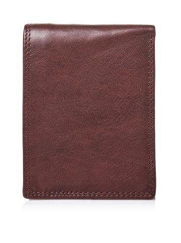 I MEDICI FIRENZE Skórzany portfel w kolorze ciemnobrązowym - 13 x 9,5 x 2 cm
