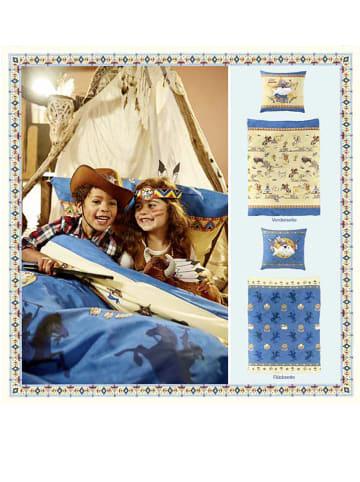 Bierbaum Komplet pościeli renforcé w kolorze niebiesko-beżowym