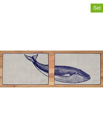 """Madre Selva 2-delige set: placemats """"Blue Whale"""" naturel/blauw - (L)45 x (B)30 cm"""