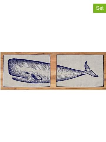 "Madre Selva 2-delige set: placemats ""Cachalote"" naturel/blauw - (L)45 x (B)30 cm"