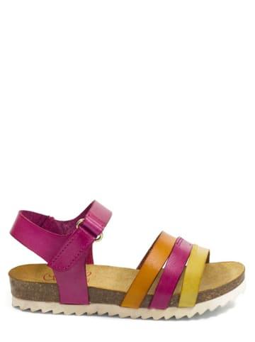 Abril Flowers Skórzane sandały w kolorze różowo-złoto-pomarańczowym