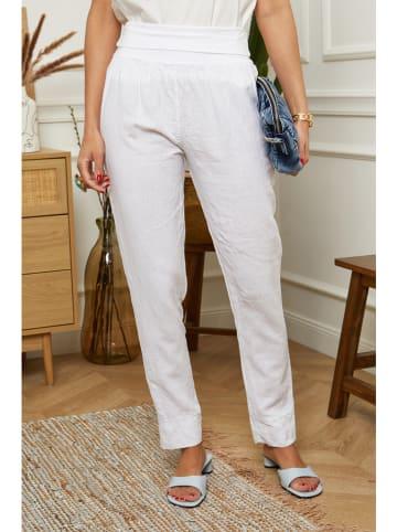 "Le Monde du Lin Lniane spodnie ""Provence"" w kolorze białym"