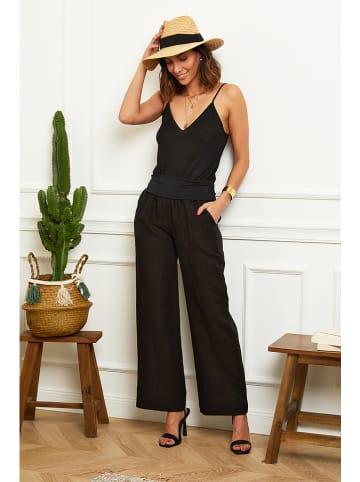"Naturelle en lin Lniane spodnie ""Valencia"" w kolorze czarnym"