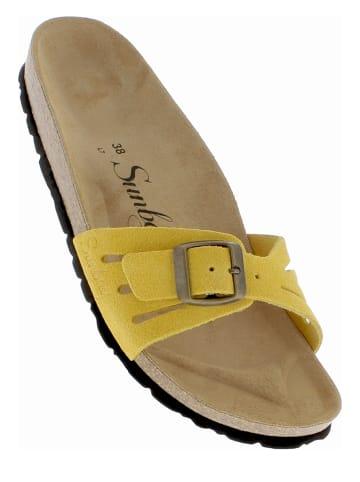 "Sunbay Leren slippers ""Freezia"" geel"