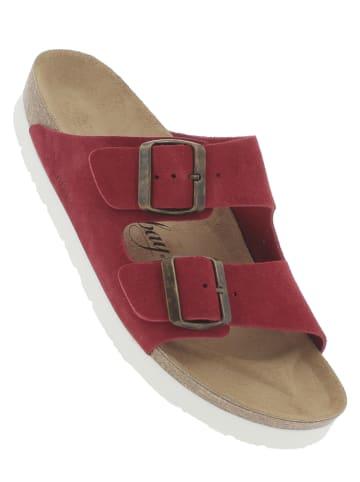 """Sunbay Leren slippers """"Trefle"""" rood"""