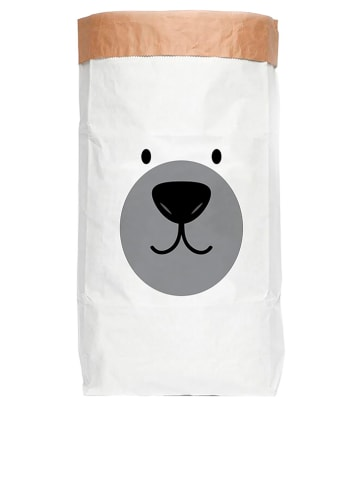 "Little nice things Aufbewahrungstüte ""Bear"" in Weiß/ Schwarz/ Grau - (B)60 x (H)90 x (T)13 cm"