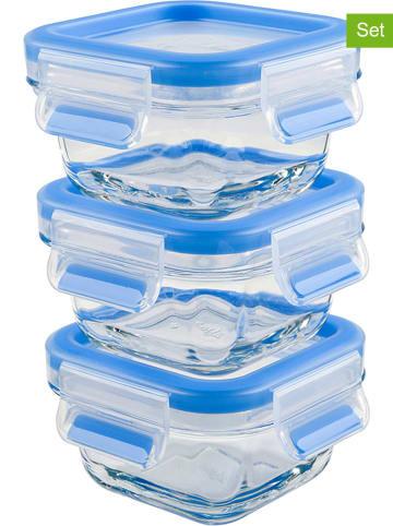 """Emsa Pojemniki (3 szt.) """"Clip & Close"""" w kolorze niebieskim na lunch - 3 x 200 ml"""