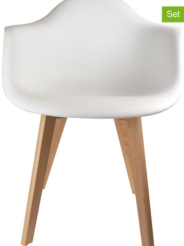 THE HOME DECO FACTORY 2-delige set: eetkamerstoelen wit - (B)62 x (H)82,5 x (D)60,5 cm