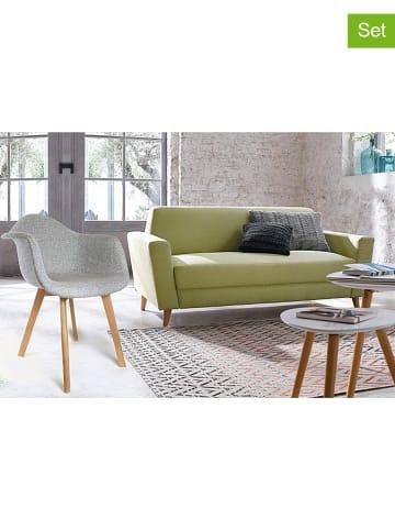 THE HOME DECO FACTORY 2-delige set: eetkamerstoelen grijs - (B)62 x (H)82,5 x (D)60,5 cm