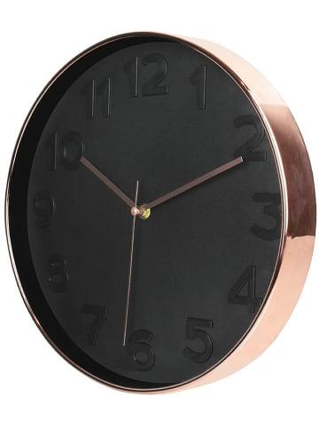 Rétro Chic Zegar ścienny w kolorze czarno-miedzianym - Ø 30,5 cm