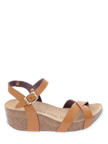 BACKSUN Sandały w kolorze jasnobrązowym na koturnie