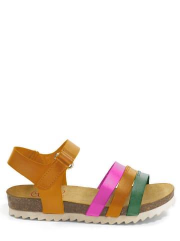 Abril Flowers Skórzane sandały w kolorze jasnobrązowym ze wzorem
