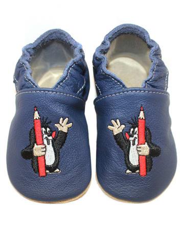 Hobea Skórzane buty niemowlęce w kolorze niebieskim