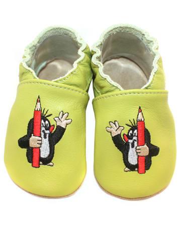 Hobea Skórzane buty niemowlęce w kolorze jasnozielonym