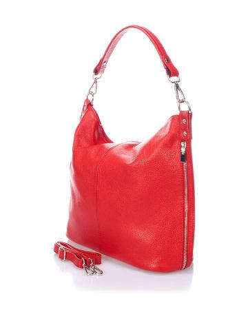 Massimo Castelli Skórzana torebka w kolorze czerwonym - 40 x 55 x 15 cm