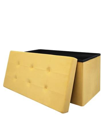 THE HOME DECO FACTORY Skrzynia-siedzisko w kolorze żółtym - 76,5 x 37,5 x 37,5 cm