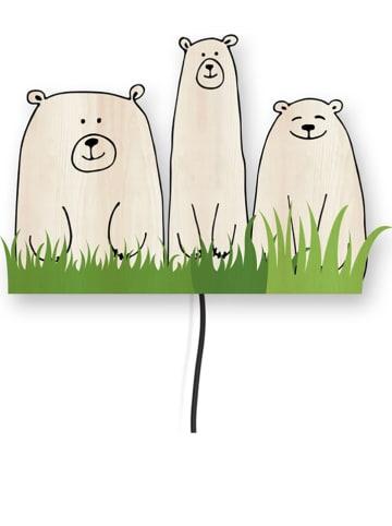 """The Wild Hug Dekoracyjna lampa LED """"Bears"""" w kolorze beżowo-zielonym - 46 x 35 cm"""