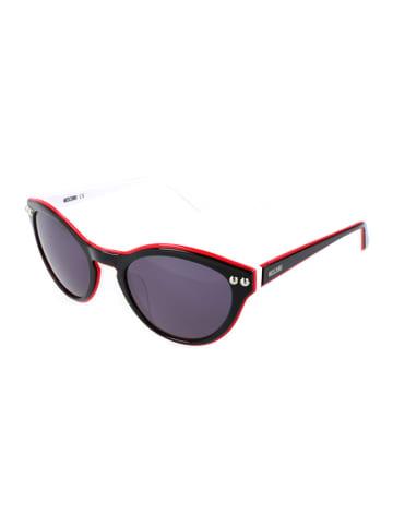 Moschino Dameszonnebril zwart-wit-rood/donkerblauw