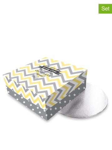 COOK CONCEPT 3-delige set: taarttransportdozen geel/grijs - (B)25 x (H)10 x (D)25 cm