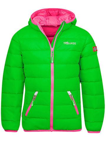 """Trollkids Kurtka puchowa """"Dovrefjell"""" w kolorze zielono-różowym"""