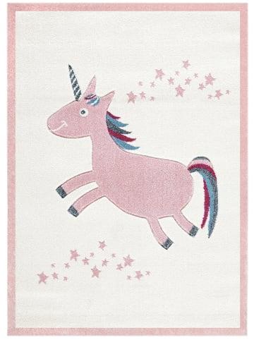 """Kids love rugs Geweven tapijt """"Eenhoorn"""" crème/lichtroze"""