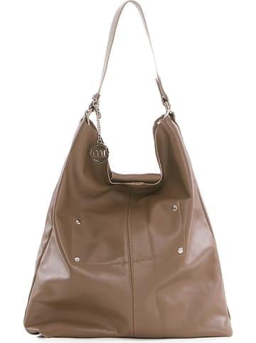 Mia Tomazzi Skórzany shopper bag w kolorze szarobrązowym - 30 x 55 x 15 cm