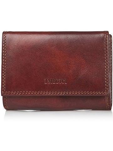 I MEDICI FIRENZE Leren portemonnee bruin - (B)8,5 x (H)12 x (D)3,5 cm