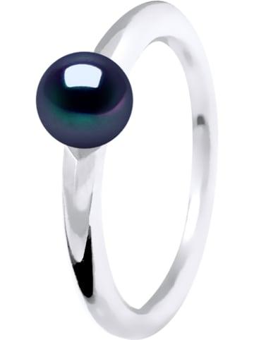 Pearline Weißgold-Ring mit Süßwasserzuchtperle in Dunkelblau