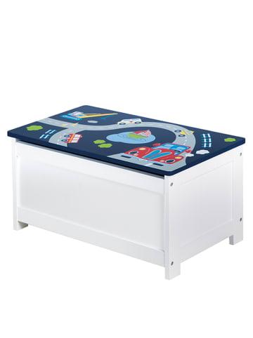 Roba Skrzynia w kolorze biało-niebieskim na zabawki - 60 x 30 x 44 cm