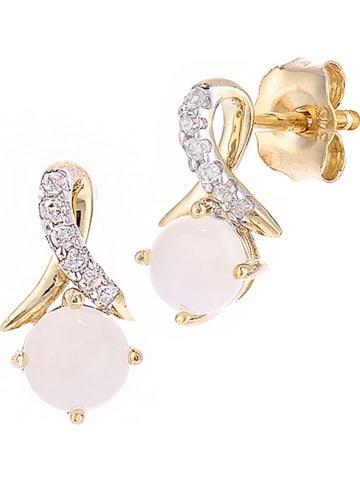 Revoni Złote kolczyki-wkrętki z diamentami i opalami