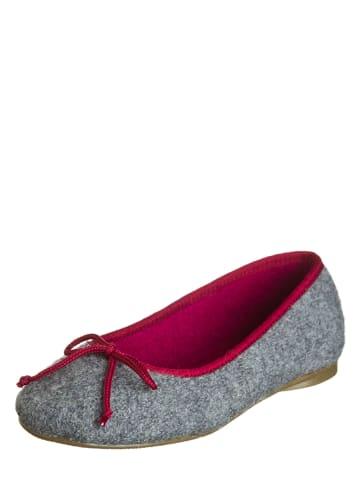 """Stegmann Pantoffels """"Ballerina"""" grijs/rood"""